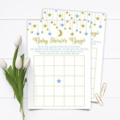 Bingo Games, Card Games, Baby Shower Bingo, Beautiful Baby Shower, Star Baby Showers, Gold Light, Twinkle Twinkle Little Star, The Perfect Touch, Card Stock