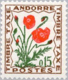 corn poppy, stamp from Andorra.  [corn poppy, Papaver rhoeas, Papaveraceae]