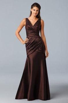 V-neck A-line with ruffle embellishment taffeta bridesmaid dress