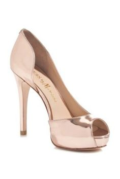 marciano rose gold patent pump