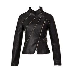 Unique Design Solid Color Partial Zipper Belt Leather Jacket
