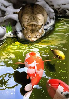 tabby cat nose-to-nose with a koi fish, illustration by makoto muramatsu, els gats de makoto muramatsu, los gatos de makoto muramatsu I Love Cats, Crazy Cats, Cute Cats, Koi Art, Fish Art, Art And Illustration, Cat Illustrations, Japanese Art, Cats And Kittens
