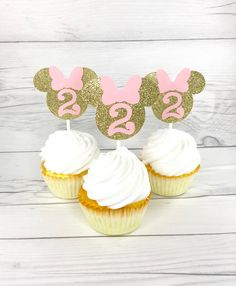 Minnie Mouse Cup Cake Toppers Pink And Gold Minnie by KbPaperCo Minnie Mouse Cupcake Toppers, Minnie Mouse Birthday Decorations, Mickey Mouse Clubhouse Birthday, Minnie Mouse Pink, Minnie Birthday, 1st Birthday Parties, 2nd Birthday, Minnie Golden, Minie Mouse Party