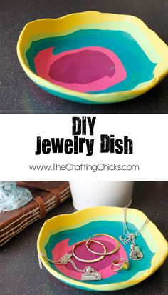 DIY Jewelry Dish This is too cute! A DIY jewelry dish that kids can make ., - DIY Jewelry Dish This is too cute! A DIY jewelry dish that kids can make …, - Clay Projects, Clay Crafts, Projects For Kids, Crafts To Make, Fun Crafts, Crafts For Kids, Kids Diy, Children Crafts, Toddler Crafts