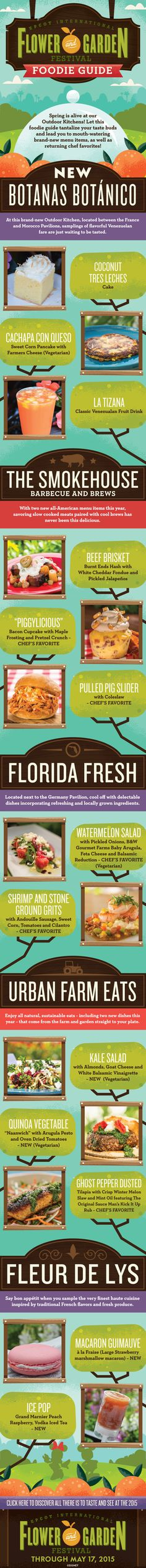 Check out fresh eats at Epcot this spring! Savor a taste of spring as you stroll the park and treat your senses to a selection of fresh flavors, with seasonal dishes and beverages at each stop—only at the Epcot International Flower & Garden Festival!