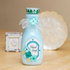 An easy to follow tutorial to create your own liquid hand soap, bar soap and inked flower embellishments.
