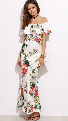 64b128c170e0 White Off-Shoulder Floral Printed Fishtail Maxi Dress Hawaiian Party  Outfit