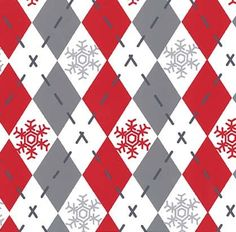 Christmas Fabric/Argyle Sweater/Gray and Red