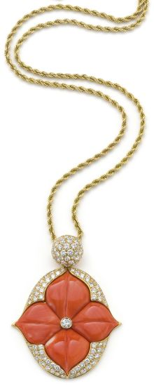 PHILLIPS : UK060111, , A coral and diamond necklace by Mauboussin