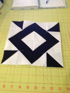 block 35---HST quilt. Blog has tutorials for all the blocks. Very creative, and interesting use of 2 color theme.
