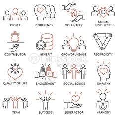 Vector set of 16 thin icons related to altruism, benevolence, human responsible and beneficence. Mono line pictograms and infographics design elements - part 2 - Buy this stock vector and explore similar vectors at Adobe Stock Icon Design, Logo Design, Visual Note Taking, Note Doodles, Easy Doodles, Sketch Notes, Drawing Projects, Design Thinking, Data Visualization