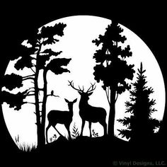 Buck and Doe Deer in the Moonlight, Hunting Vinyl Wall Decal Sticker Art, Removable Home Decor, Mural, White Special Offers - Buck and Doe Deer in the. Hirsch Silhouette, Deer Silhouette, Kirigami, Wall Decal Sticker, Vinyl Decals, Car Decals, Wood Burning Patterns, Scroll Saw Patterns, Pyrography