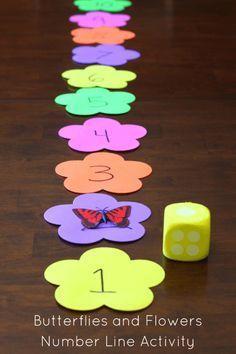 Butterflies and Flowers Number Line Activity. Preschool math fun! #earthday