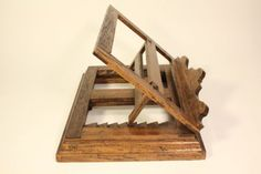 Rare-Antique-Wood-Missal-Bible-Book-Holder-Stand-Adjusts-Rotates-360-Italy-Made
