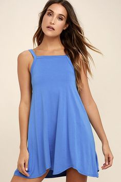 Steal a bit of sunshine and an admiring glance or two in the RVCA Thievery Blue Dress! Soft jersey knit is shaped to wide straps, a squared-off neckline, and trapeze silhouette with scalloped hem. Logo tag at side. Cute Sundresses, Yellow Sundress, Online Dress Shopping, Vacation Dresses, Summer Outfits, Summer Clothes, Dresses Online, Blue Dresses, Clothes For Women
