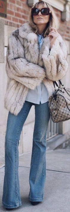 Butterfky sunnies, ink silk blouse, vintage faux fur coat, flared jeans, Gucci bag |Jetset Justine