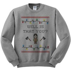 Joyce Stranger Things Crewneck Sweater, Netflix Sweater, Will Stranger... ($18) ❤ liked on Polyvore featuring tops, sweaters, shirt sweater, crew-neck tops, crewneck sweaters, christmas sweaters and crew neck shirt
