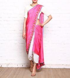 Pink Metal Embroidered Matka Silk Pant Style Saree