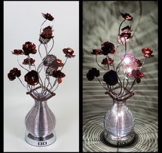 http://www.wirelamps.co.uk/WLT2124-5SilverCoffee.html  Height 80cm Width 22cm Depth 22cm  Beautiful Woven Wire Lamp in Silver/Coffee with Coffee Flower Heads and Coffee Illuminating Shades