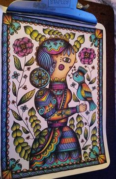 """By Dawn Bryan From """"Posh Coloring Happy Doodles """" with Crayola pencils"""