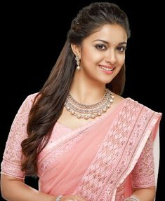 Keerthy Suresh in Rose Color Saree with Cute and Lovely Smile, Keerthy Suresh latest Images. Khadi Saree, Lace Saree, Sarees, Dress Neck Designs, Saree Blouse Designs, Beautiful Saree, Beautiful Indian Actress, Bridal Jewellery Inspiration, Saree Hairstyles