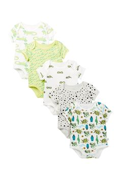 He'll beat the heat in these comfy cool cotton bodysuits, one for almost every day of the week!