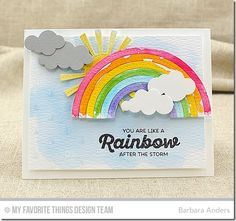 Rainbow of Happiness, Puffy Clouds Die-namics, Stitched Rainbow Die-namics, Sunny Skies Die-namics, Raindrops Stencil - Barbara Anders  #mftstamps