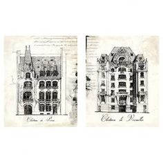 Create a chic home gallery with this set of canvas prints, showcasing ornate French chateaus with script detail.