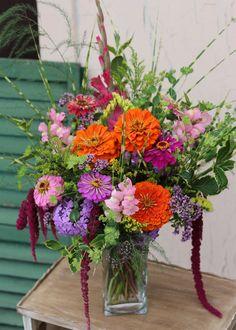 Cutting garden bouquet ideas. Zinnias and tropical colors.