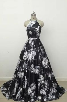 43d57508fa5 Cheap prom dresses Cute black and white floral satin halte prom dress Types  Of Prom Dresses