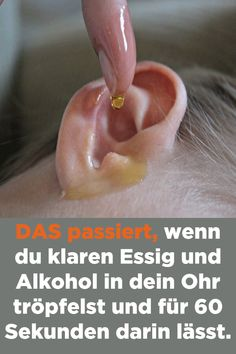THAT happens when you put clear vinegar and alcohol in your ear .- DAS passiert, wenn du klaren Essig und Alkohol in dein Ohr tröpfelst und für THAT happens when you dribble clear vinegar and alcohol into your ear and let it in for 60 seconds. Teeth Care, Skin Care, Alcohol, Little Gardens, Atkins Diet, Oral Hygiene, Health Tips, Detox, Martini