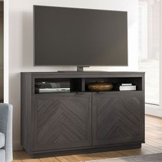 "Better Homes & Gardens Hendrix Herringbone Style TV Console, Fits TVs up to 55"" & 135lbs - Walmart.com"