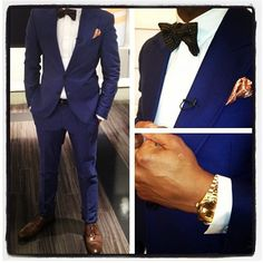 Men's #WhiteandBlue Suit Outfit