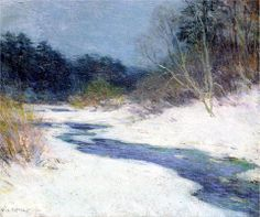 Willard Metcalf :: Thawing Brook :: 1921