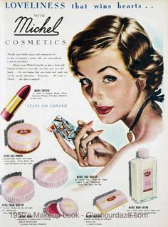 Vintage Makeup Vintage lifestyle Fashion ideas to steal from your grandma's closet! - Today we are going to show you some of the best vintage home design ideas to steal from her home decor 1950s Makeup, Vintage Makeup Ads, Retro Makeup, Vintage Vanity, Vintage Glam, Vintage Beauty, Vintage Ads, Vintage Posters, Vintage Images
