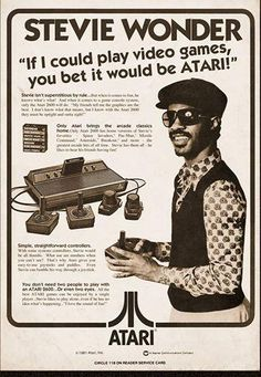 Vintage Ad: Stevie Wonder in an Atari video game ad from the early 80s via…