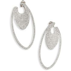 "Adriana Orsini Pave Crystal Oval Hoop Earrings/1.5"" ($130) ❤ liked on Polyvore featuring jewelry, earrings, apparel & accessories, silver, pave jewelry, crystal jewelry, post earrings, pave crystal earrings and adriana orsini jewelry"