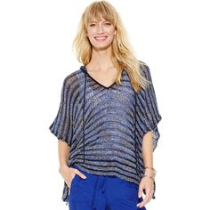 Inc International Concepts Hooded Open-Knit Poncho Top ($21) ❤ liked on Polyvore featuring outerwear, blue multi, inc international concepts and hooded poncho