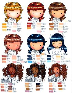 Copic Hair and Skin Chart - this would be very useful. if I had some Copic markers, maybe someday Copic Marker Color Chart, Skin Color Chart, Copic Marker Art, Copic Pens, Copic Art, Copic Sketch Markers, Copics, Prismacolor, Copic Markers Tutorial