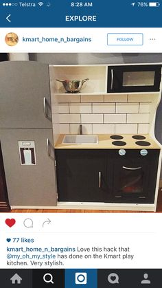 Kitchen hack Kmart Kids Play Kitchen, Small Space Kitchen, Toy Kitchen, Kitchen Hacks, Play Kitchens, Kmart Home, Diy Kitchen Shelves, Cubby Houses, Kitchen Decor Themes