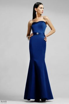 Satin strapless bridesmaids gown with ruffle on bustline and gathered waistband with diamante broach.