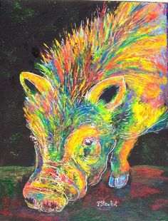 9x12 Mohawk Pig Neon Bright Colors Acrylic on Canvas Board SFA Penny Lee StewArt #Impressionism