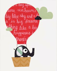 Elephant in a Hot Air Balloon Nursery Artwork Print // Baby Room Decoration // Kids Room Decoration // Gifts Under 20 on Etsy, $14.00