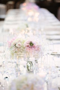 pink and white tablescape Photography by kristinvining.com | Event Planning by weddingsandthecity.com | Floral Design by theplaceforflowers.com |  Read more - http://www.stylemepretty.com/2013/06/11/charlotte-wedding-from-kristin-vining-photography/