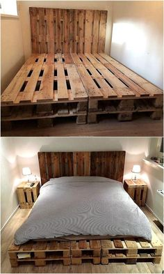 Now come to an idea of creating a bed with pallets with the tall headboard, the idea is simple; but unique because the bed with headboard available in the market are not are not usually tall. The bed is created by joining 2 separate pieces, so a single bed can be made with this idea.