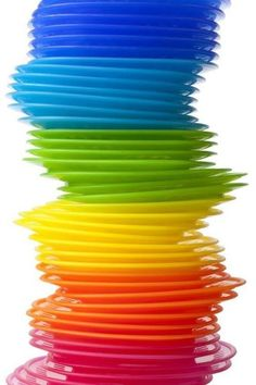 Stack of Rainbow Plates..