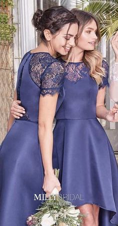 Blue Bridesmaid Dresses With Sleeves, High Low Prom Dresses A Line, Elegant Formal Evening Dresses Lace, Asymmetrical Cocktail Party Dresses Satin High Low Bridesmaid Dresses, Bridesmaid Dresses With Sleeves, Wedding Dresses Uk, Modest Bridesmaid Dresses, Best Prom Dresses, Prom Dresses For Teens, Girls Formal Dresses, Elegant Prom Dresses, Beautiful Prom Dresses