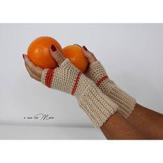 Beige crochet fingerless gloves, wool wrist warmers women's accessory,... ($12) ❤ liked on Polyvore featuring accessories, gloves, woolen gloves, christmas gloves, hand knit gloves, hand knitted gloves and wool gloves