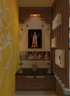 narrow pooja room, pooja unit with hanging bell & spot light, pooja partition, unit with granite top Living Room Tv Unit Designs, Bedroom Cupboard Designs, Pooja Room Door Design, Home Room Design, House Design, Luxury Bedroom Design, Bedroom Furniture Design, Temple Design For Home, India Home Decor