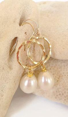 pearl earrings, pearl wedding jewelry, large pearl earrings, white pearl…
